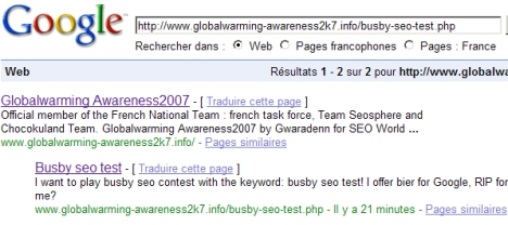 Busby seo test on Google